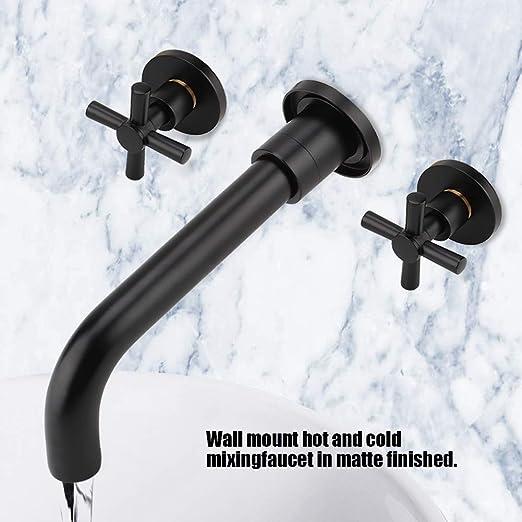 negro mate KWODE Grifos Lavabos Empotrados de 2 Orificios de lavabo ba/ño grifo 360 /° giratoria de ca/ño montado en la paredgrifo Grifo mezclador para lavabo de pared