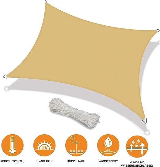 Toldo Vela de Sombra Rectangular Vela Sombra Prevención Rayos UV Solar protección para Jardin Terraza Patio Gris - Beige 2x5.5m: Amazon.es: Jardín