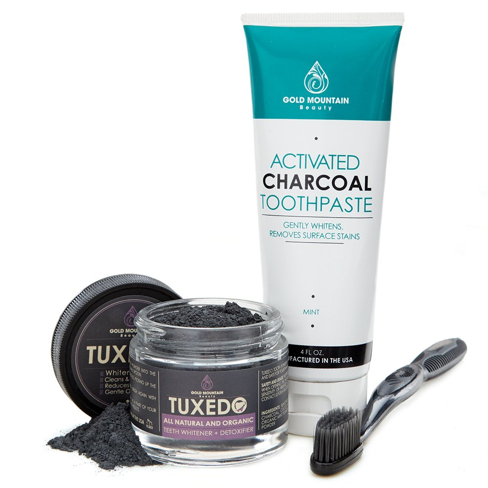 Premium Natural Teeth Whitening KIT Contains Activated Charcoal Tooth Powder, Activated Charcoal Toothpaste, FREE Binchotan Charcoal Infused Toothbrush. Makes Teeth Sparkling White (Original)
