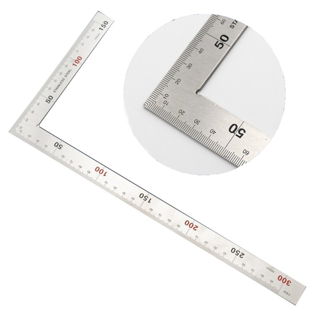 150x300mm Stainless Steel 90 Degree Square Layout Tool L Shaped Dual Angle Side Metric Square Ruler Ideal For Rafters Doors Window Framing Stair Layouts and More Projects HSJ-07-US