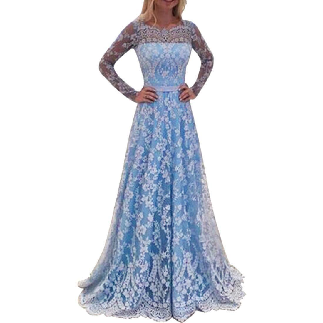 Abendkleid Spitzekleid Sommerkleid Damen Sunday Langarm Prinzessin Kleid Brautjungfernkleid Reizvolle Frauen Solide Hochzeitskleid Chiffonkleid Formal Kleid