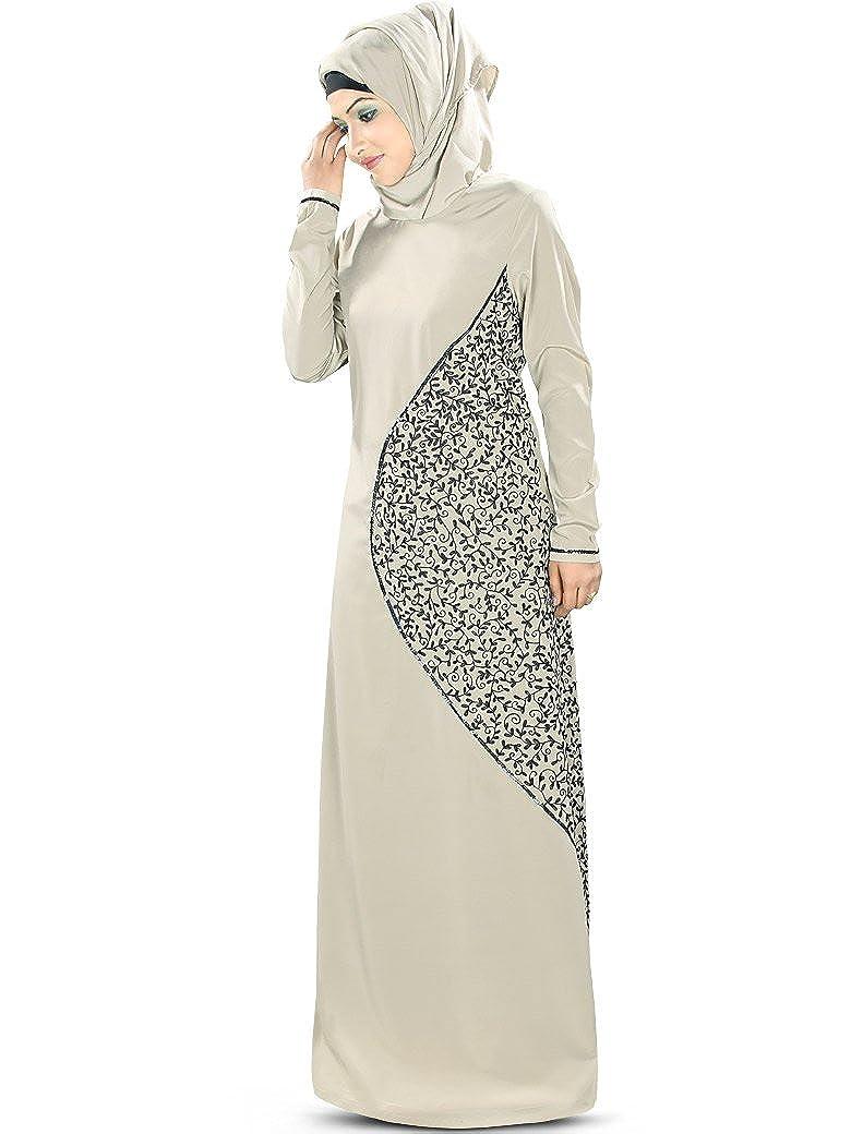 MyBatua Frauen Hena Emroidered Abaya mit Sequin Lace AY346