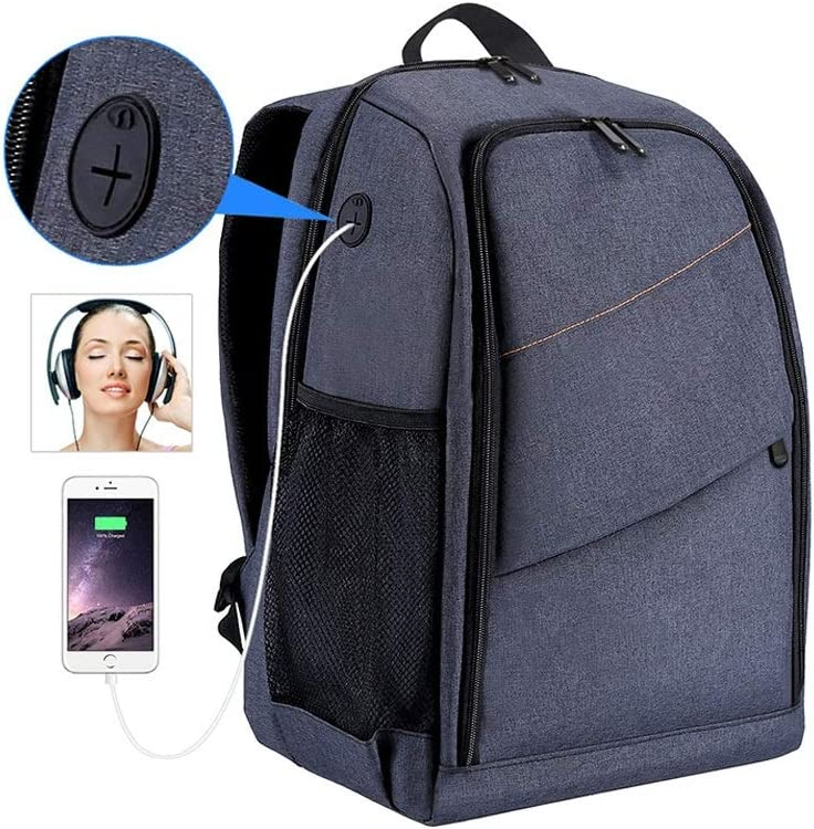 Large Capacity Storage Cooralledtooere Camera Backpack Waterproof Camera Bag with Charging Headphone Jack one-Stop Multi-Function Intelligent partition Color : Black