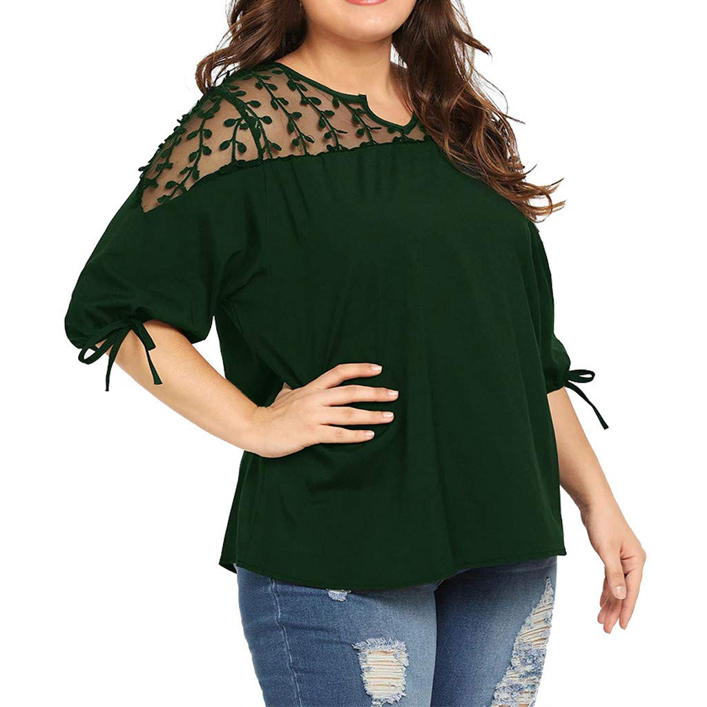 Womens Plus Size Patchwork Chiffon Blouse, Summer Ladies Mesh Lace Short Sleeve T-Shirt Tops Pullover Green