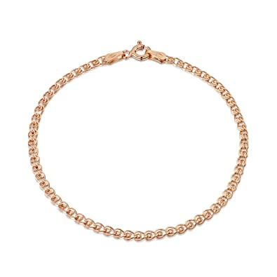 Amberta 14K Rose Gold Plated on 925 Sterling Silver 2.3 mm Heart Chain Bracelet Size 7
