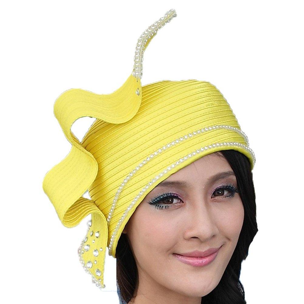 June's Young Fashion Church Hat for Women Satin Hat Bucket Cloche Hat (Yellow)