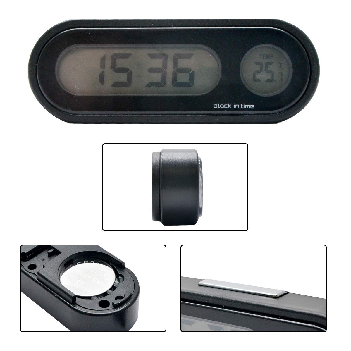 HugeAuto Car Temperature Clock Universal Auto Dashboard Digital Clocks with Blacklight And LCD Screen Adjustable Vehicle Temperature Gauge Support 12h//24h Transformation Modes-Black