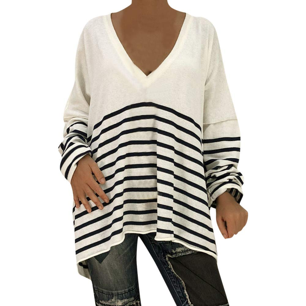 Chemise Tops Femmes Xinantime Femmes Col v pull Ray/é Manches Longues pull chemisier Chemises sweat Top Blouse Veste chaude Pull Automne hiver