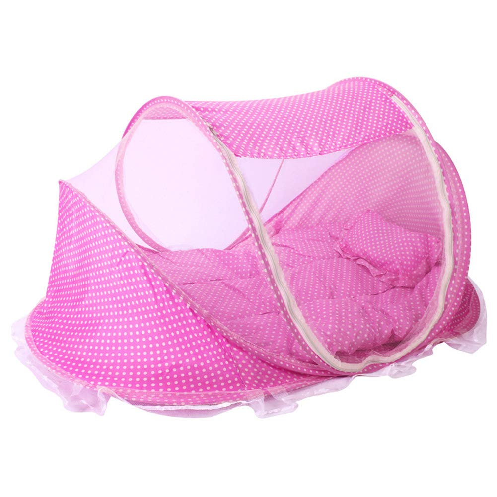 CdyBox Portable Travel Baby Tent Pop Up Playpen Instant Mosquito Net Pink
