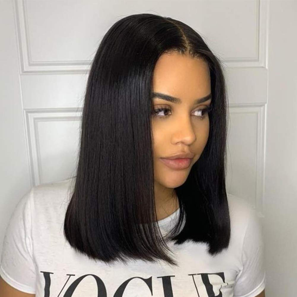 Amazon Com 4x4 14 Inch Lace Front Wigs Human Hair Bob Straight Lace Closure Wig Middle Part 150 Density Natural Color Human Hair Lace Front Wigs Beauty