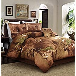 Lion Print Full Size 5pc Duvet Cover Set 100% Cotton Reversible Brown color Jungle Collection Animal Print Bed Cover Set