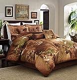 Lion Print Full Size 5pc Duvet Cover Set 100% Cotton Reversible Brown color Jungle Collection Animal Print Bed Cover Set