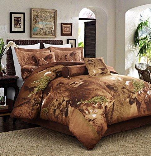 Cozy Beddings 5-Piece Duvet Set, Jungle Collection Lion Animal Print Full Size Bed
