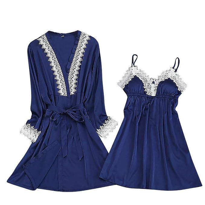 Proumy Pijama Azul Mujer de Encaje Blanco de Punto Sexy Bata Verano Ropa Floral de Dormir