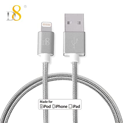Amazon.com: D8 Apple MFi Cable Lightning Nylon Trenzado ...