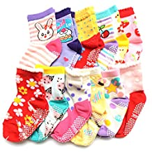 ShoppeWatch 12 Pairs Baby Toddler Socks with Grips Anti-Slip Non-Skid Bottoms For Kids Infant Babies Unisex 2T and 3T Walkers BBSK15G