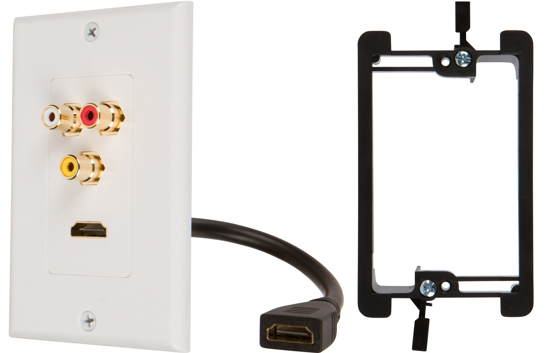 Buyer's Point HDMI Pigtail RCA Wall Plate with Single Gang Low Voltage Mounting Bracket Device