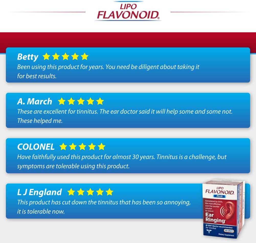 Lipo-Flavonoid Plus Ear Health Supplement | 100 Caplets | #1 ENT Doctor Recommended for Ear Ringing | Most Effective Over the Counter Tinnitus Treatment: Health & Personal Care