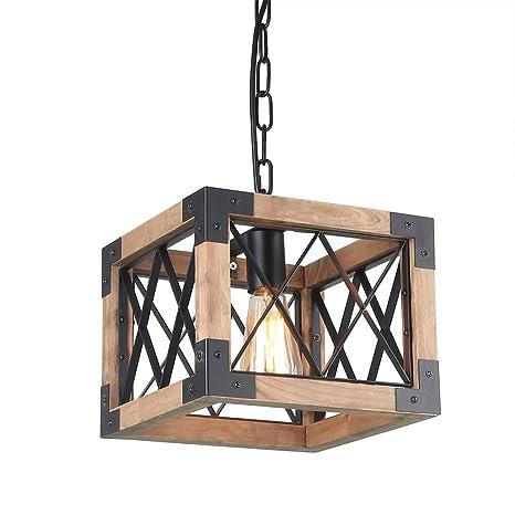 Anmytek Adjustable Wood Metal Chandelier Cube Iron Net Frame Pendant Lighting For Kitchen Island Rustic Industrial Edison Hanging Light Dining Room