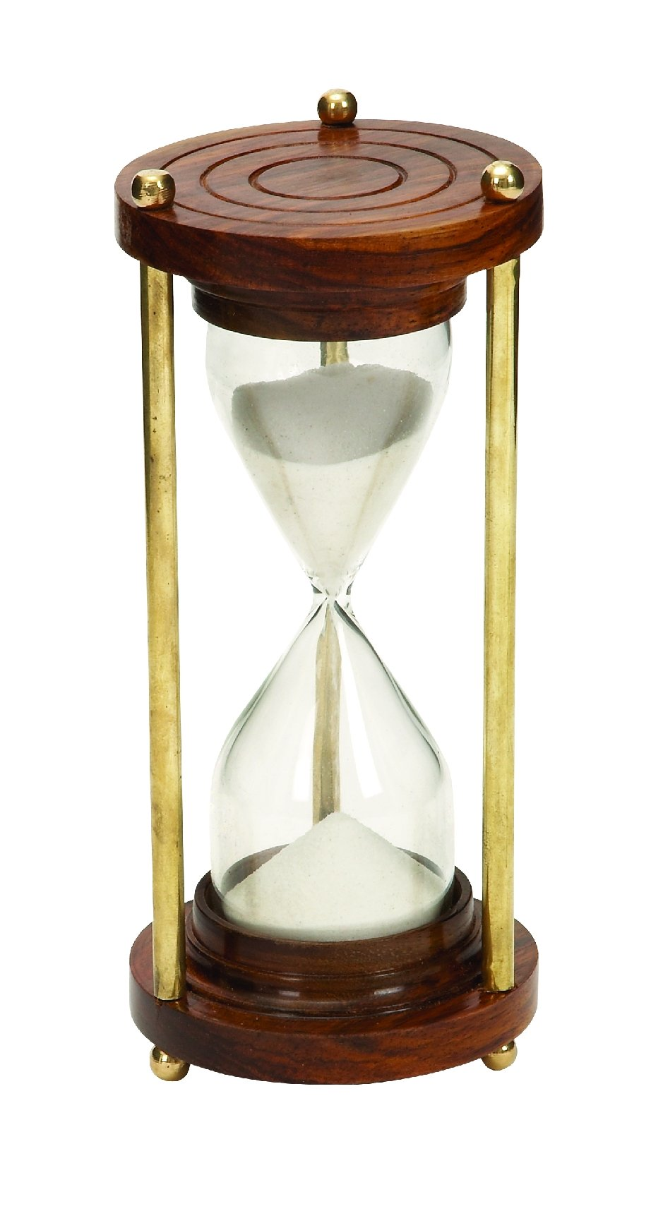 5 Minute Nautical Ship Sand Timer Metal Hour Glass 7''