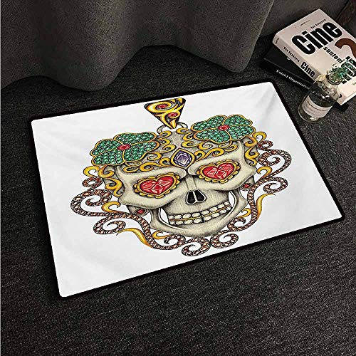 Pendant Sliders Yellow - HCCJLCKS Interesting Doormat Day of The Dead Sugar Skull with Heart Pendants Floral Colorful Design Print All Season General W24 xL35 White Ivory and Yellow