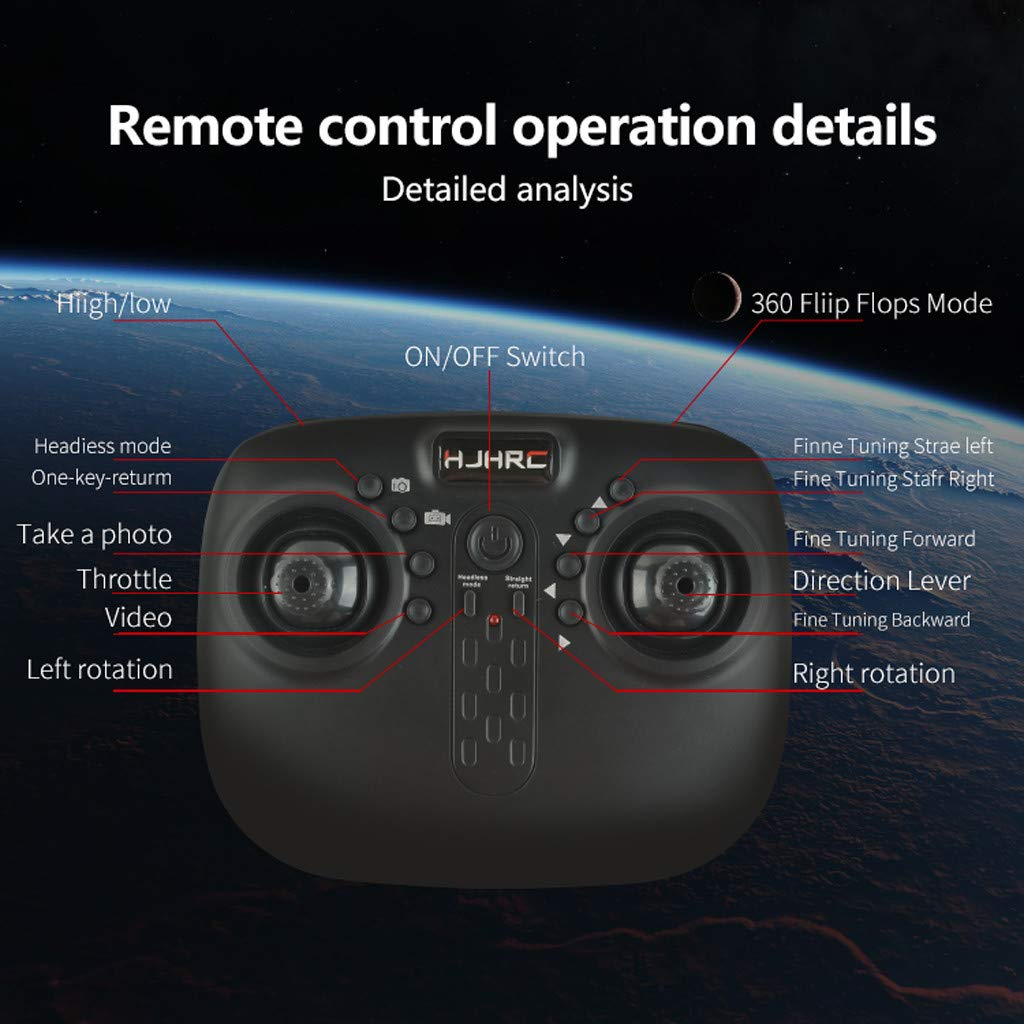 MOZATE HJ18W 2.4Ghz FPV WiFi 1080P HD Camera Remote Control RC Quadcopte Selfie Drone (White) by MOZATE (Image #6)