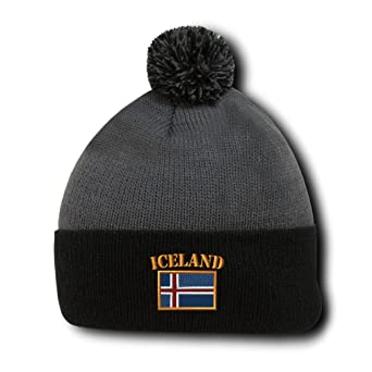 d4acba7513f Amazon.com  Speedy Pros Iceland Flag Embroidery Embroidered Pom Pom Beanie  Skully Hat Cap Black  Clothing