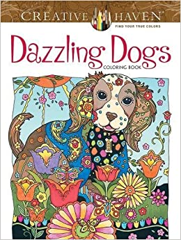 Creative Haven Dazzling Dogs Coloring Book Adult