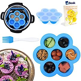 PREMIUM Silicone Egg Bites Molds - BEST Bundle - Fits Instant Pot Pressure Cooker 5, 6 Qt & 8 Quart - BONUS Accessories - Pastry Brush + eBook - Sous Vide Eggs Poacher - Freezer Tray - For Instapot 57 ⭐⭐⭐ FLASH SALE - OVER 45% OFF - LIMITED TIME ONLY ⭐⭐⭐ LEAKPROOF, NON-STICK & EASY TO CLEAN - The Kitchen Deluxe Silicone Egg Bites Mold uses PREMIUM quality Silicone with a non-stick coating. The easy clip-on lid preserves freshness and flavors offering a tight leak proof seal. A definite MUST HAVE gadget that will become one of your FAVORITE kitchen accessories. SUPERIOR BUNDLE - FREE PASTRY BRUSH - FREE EBOOK - Premium Silicone Egg Mold Bites. Multifunctional Basting & Pastry Brush; great for BBQ meat, cakes and pastries (worth $5.95). Downloadable eBook (SENT VIA EMAIL) on how to make the most out of your Molds. (Prime one day fast shipping) EASY TO USE & DISHWASHER SAFE - The non stick flexible silicone enables you to smoothly release portions individually without disturbing the other molds. Just squeeze the bottom of the mold and the portion pops right out. Replace your cupcake papers, muffin pans and cake tins with this environmentally friendly alternative.