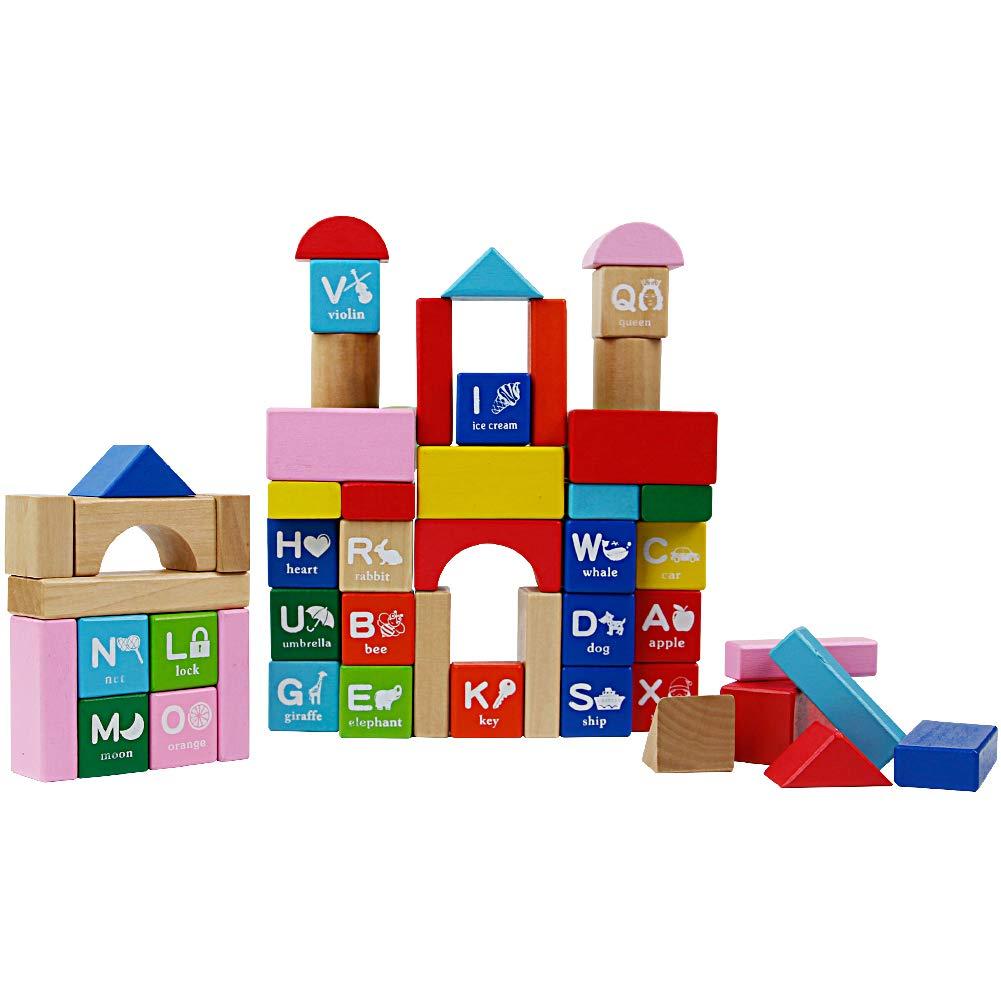 Nuheby Holzklötze Bunt Natur Spielzeug für Kinder ab 18 Monat 60 Stück Bausteine Holz in der Trommel zur Aufbewahrung