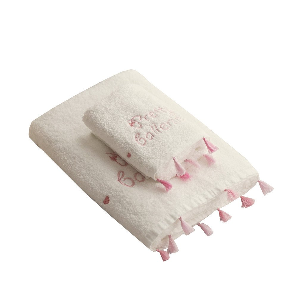 Cozzy 2-piece Decorative Hand & Bath Towels Set for Princess Girls Long-staple Cotton Monogram Pretty Ballerina Embroidered with Tassels White