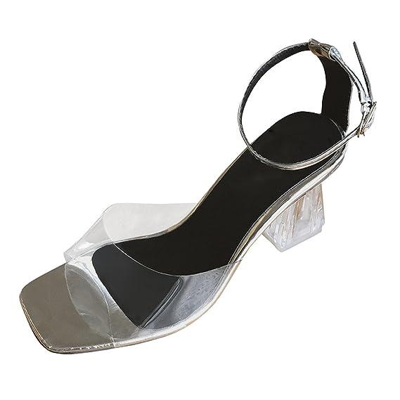 nouveau sélection chaussures de sport acheter pas cher Morden Été Sandales Femme❤️Robemon Transparent Sandals Cheville Chaussure  Femme Talon Hauts Parti Open Sandales Nu Pieds Sandales Fille Adolescente