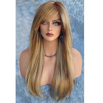 Weibliche Schräge Pony Lange Glatte Haare Perücke Gold 46 Punkte