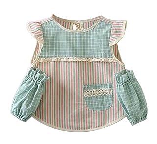 Apron Work Clothes Children Cotton Apron Stripe Feeding Spron Artist Apron (Green) Lihin