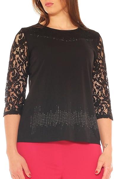 Perla oversize maglia donna elegante con pizzo e strass taglia morbida  abbigliamento jpg 402x606 Maglie eleganti d34f09bd539c