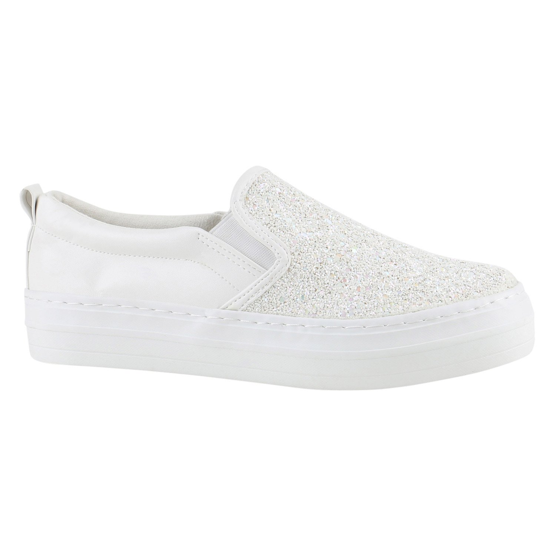 Stiefelparadies Damen Sneaker Slip Ons mit Plateau Glitzer Flandell  40 EU Weiss Metallic