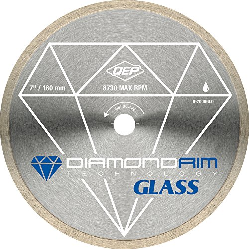 QEP 6-7006GLQ 7-Inch Continuous Rim Glass Tile Diamond Blade, 7mm Rim Height, 5/8-Inch Arbor, Wet Cutting, 8730 Max (Glass Saw Blade)