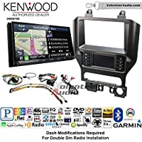 Volunteer Audio Kenwood DNX874S Double Din Radio Install Kit with GPS Navigation Apple CarPlay Android Auto Fits 2015-2017 Mustang