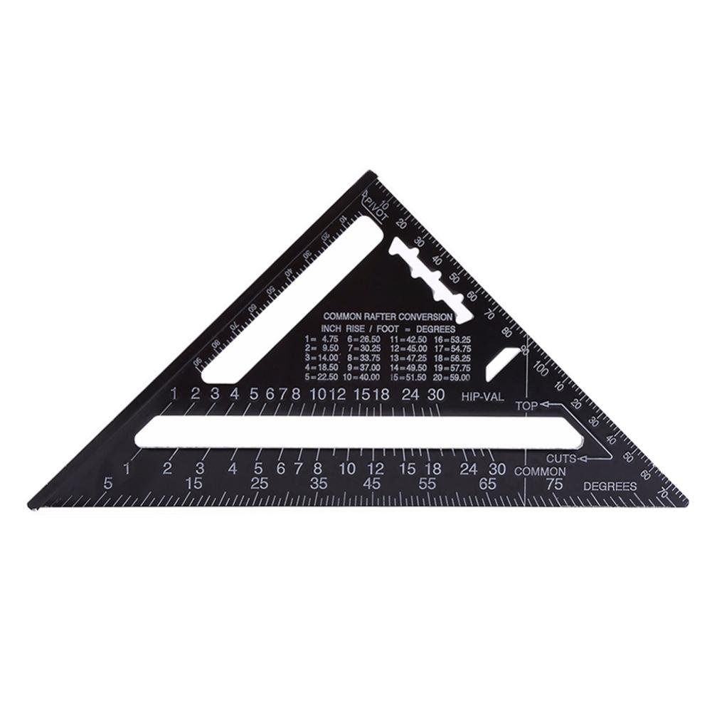 sikiwind 7inch Metric Triangle Measuring Ruler Aluminum Alloy Triangular Ruler Triangle Angle Protractor Trammel Tools