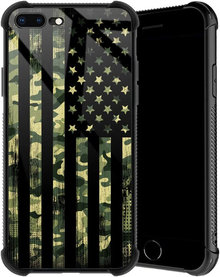 TnXee iPhone 8 Plus Case,Camo American Flag iPhone 7 Plus Cases for Boys/Girls, Individual Creative Nonslip Soft TPU Silicone Bumper[Shock Absorption] Cool Cover Case for iPhone 7/8 Plus