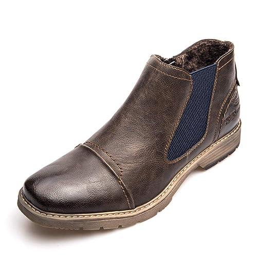 Botas Chelsea para Hombre Zapatillas Sin Cordones Botines OtoñO Invierno Botines De Cuero Causal Botas CóModas De Chukka: Amazon.es: Zapatos y complementos