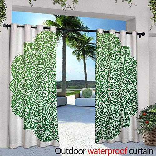 Mandala Outdoor Privacy Curtain for Pergola W84 x L96 Ornamental Floral Arrangement with Spirals Stars and Blossoming Petals Thermal Insulated Water Repellent Drape for Balcony Apple Green and Whit