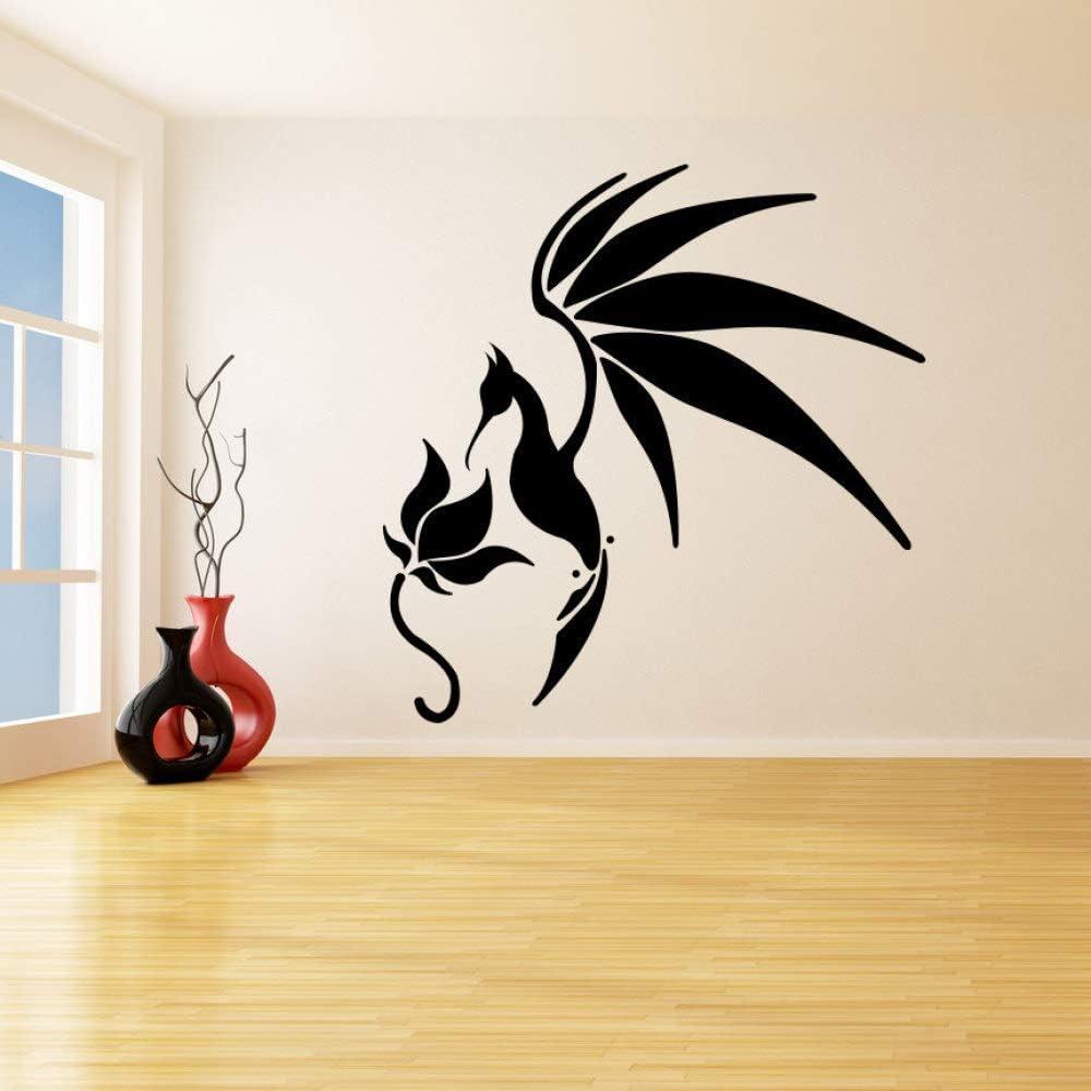 yaoxingfu Un pájaro con alas Abiertas Paradas Flor Pegatinas de Pared Desmontables para la Sala de Estar Murales de Vinilo Tatuajes de Pared Cotizaciones Dormitorio decoración Blanco 56X57cm