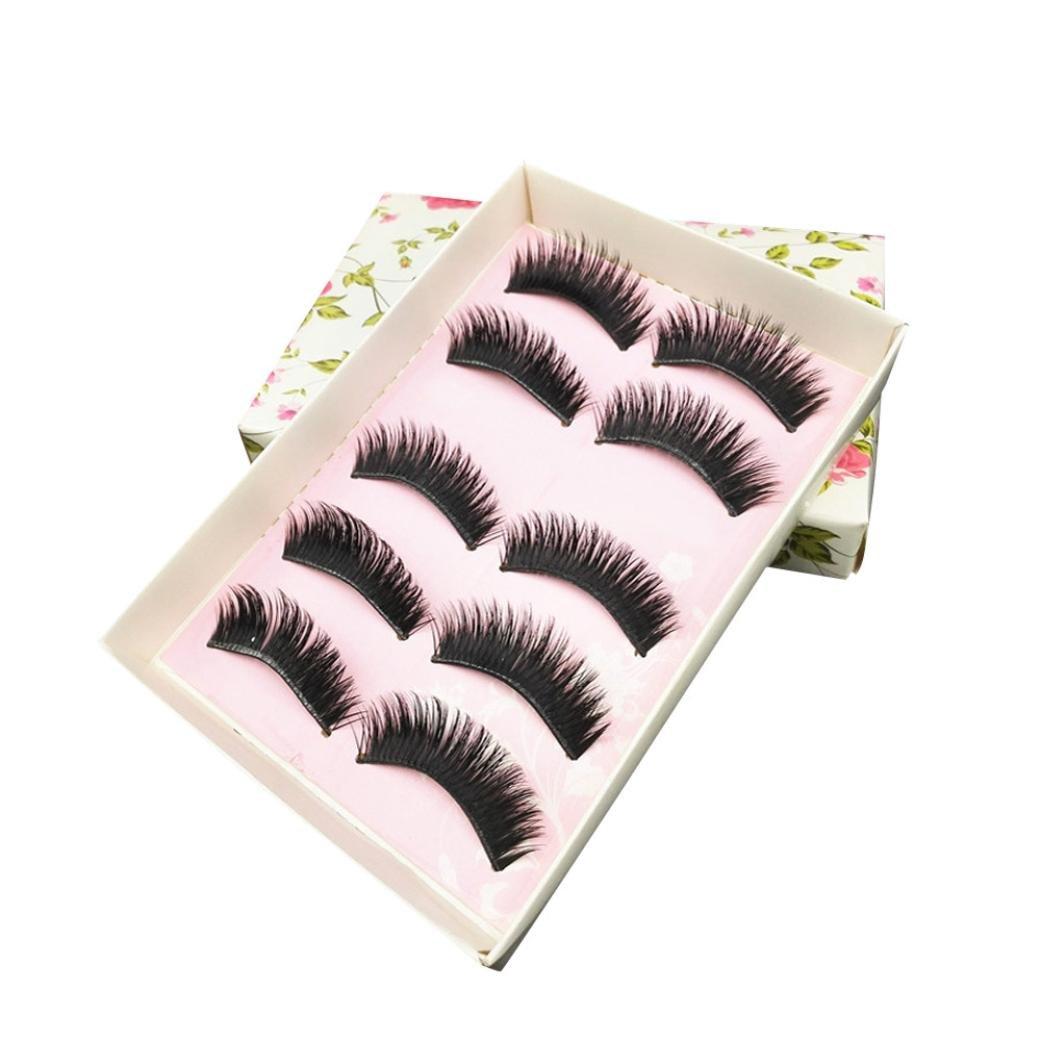 39127c6e469 Amazon.com : NewKelly New 5Pairs Natural Long Black Eye Lashes Makeup Thick Fake  False Party Eyelashes : Beauty
