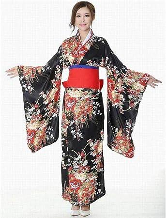 HNBY Impreso Cosplay Vestido De Noche Japonesa Mujeres Tradición Yukata Kimono De Satén con OBI Flor del Traje De Baño del Vestido (Color : Red, Size : S): Amazon.es: Hogar
