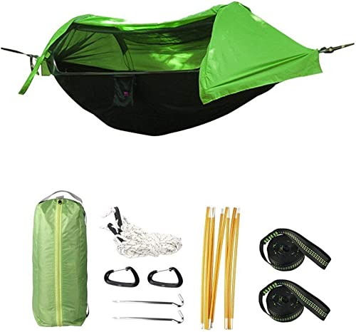 Camping Hammock with Mosquito Net and Rainfly Cover, Lightweight Portable Hammock for Outdoor Backpacking Hiking Travel Yellow