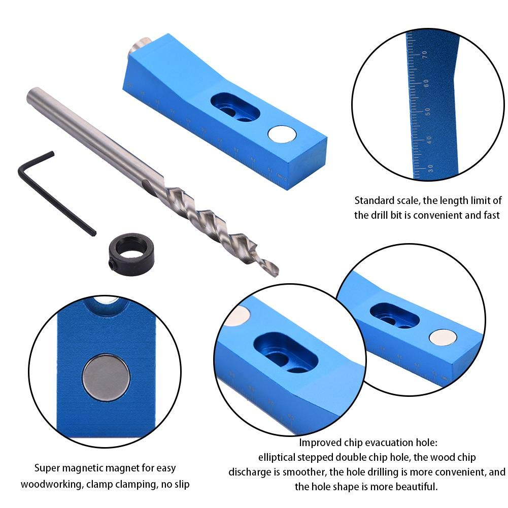 Single Hole Positioner Drill Bit Woodworking Tools Jig Mini Kit Punch Inclined Hole Woodworking Pocket Hole