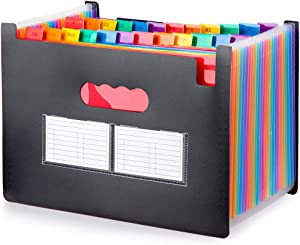 GREENRAIN File Folder Organizer - 24 Compartments Multi-Color Accordion A4 Size with Expanding Wallet Filing Box for Business/Office/Study/Home