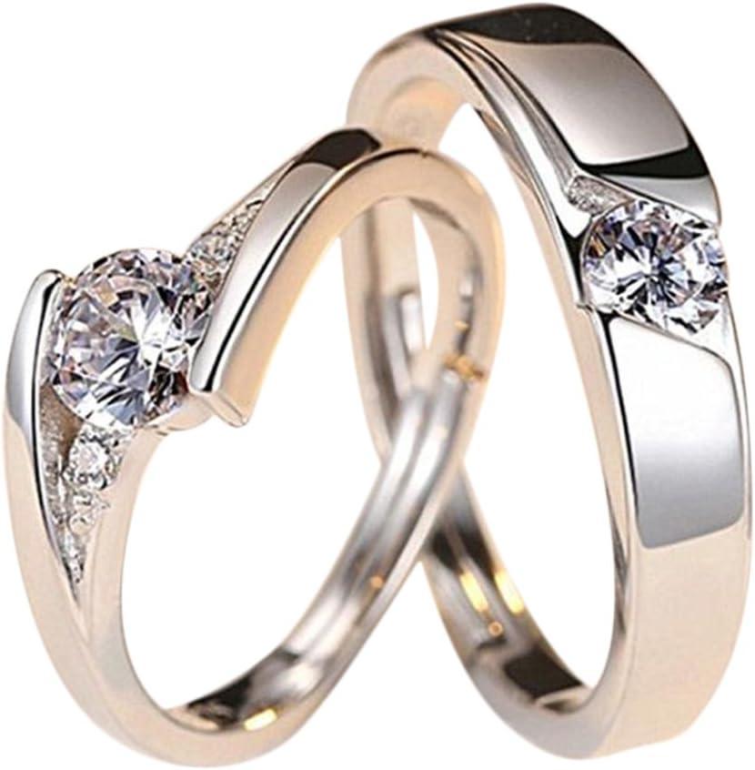Lumanuby 2X Anillo de Pareja Anillos de Hombres y Mujeres Tamaño Ajustable de Metal Anillo Liso de Acero Anillo de Compromiso Anillo de Diamantes de Cristal Blanco