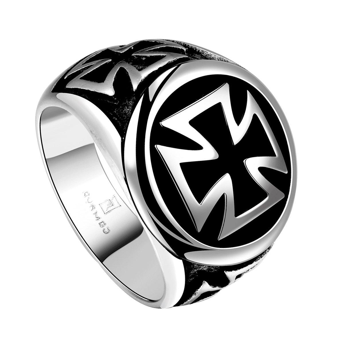 anillo para hombre acero inoxidable Yodensity anillos de fantas/ía sello con cruz retro